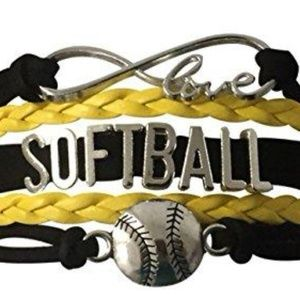 Girls Softball Bracelet - Black & Yellow